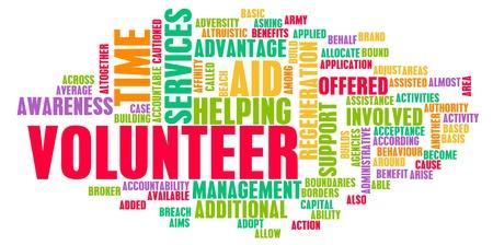 Trabajo y ayudar a dar ayuda de voluntarios.