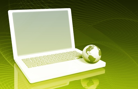Surfing the Internet on a Laptop with Globe Stock Photo - 9592887