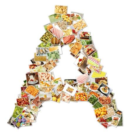 uppercase: Letra a con alimentos Collage concepto arte Foto de archivo