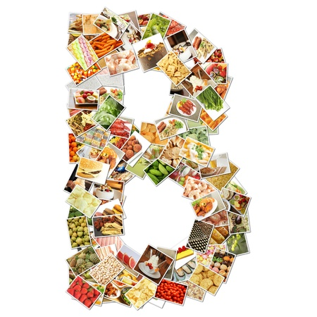 Letter B with Food Collage Concept Art Stock Photo