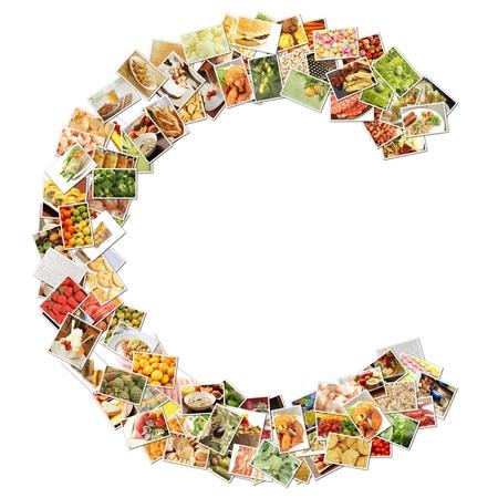 Letter c met voedsel Collage Concept Art