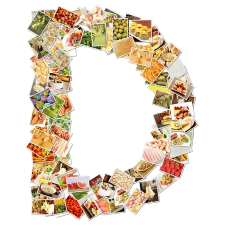 Letter D with Food Collage Concept Art Stock Photo