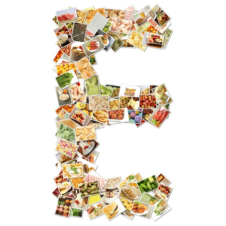 Letter E with Food Collage Concept Art photo