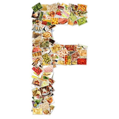 Letter F with Food Collage Concept Art Stok Fotoğraf