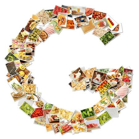 Letter g met voedsel Collage Concept Art