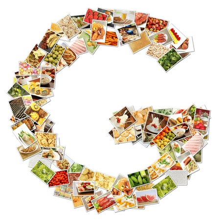 health collage: Letter G with Food Collage Concept Art