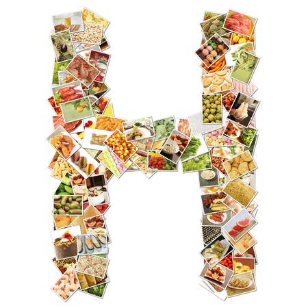 食品コラージュ コンセプト アートと文字 H