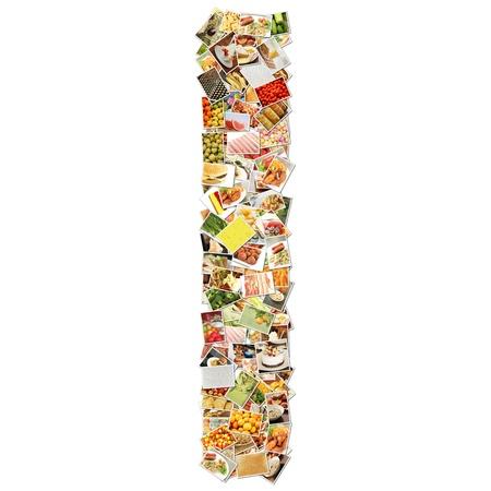 De letter I met voedsel Collage Concept Art Stockfoto