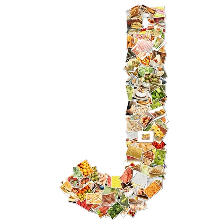 Letter J with Food Collage Concept Art photo