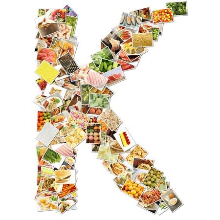 Letra k con alimentos Collage concepto arte Foto de archivo - 9691846