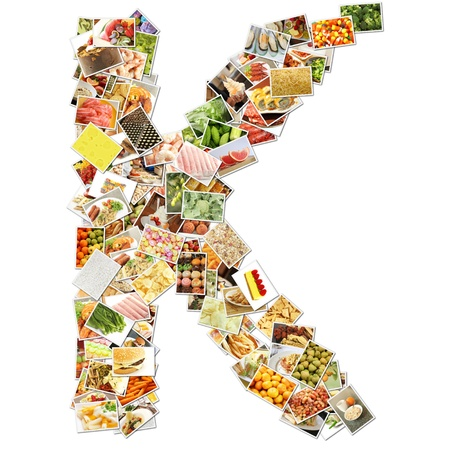 health collage: Letter K with Food Collage Concept Art Stock Photo