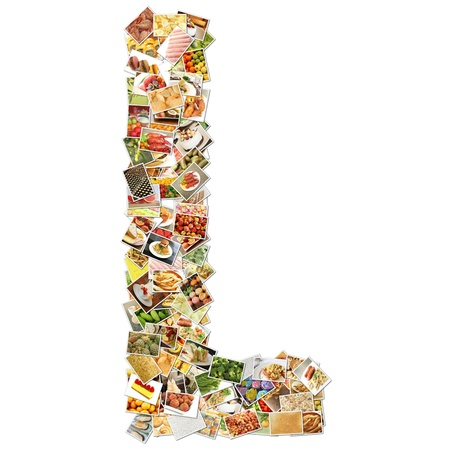health collage: Letter L with Food Collage Concept Art