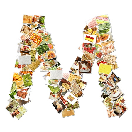 health collage: Letter M with Food Collage Concept Art Stock Photo
