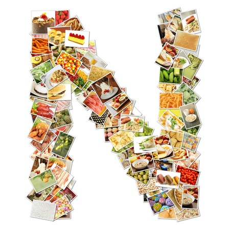 letter n: Letter N with Food Collage Concept Art Stock Photo