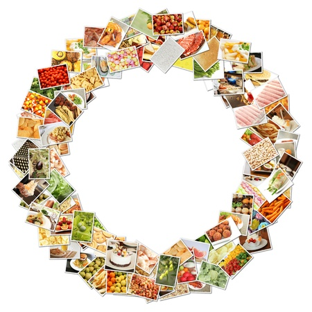 food: Letter O with Food Collage Concept Art Stock Photo