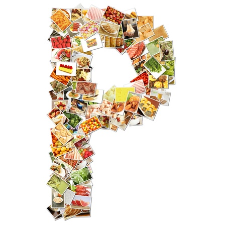 health collage: Letter P with Food Collage Concept Art Stock Photo