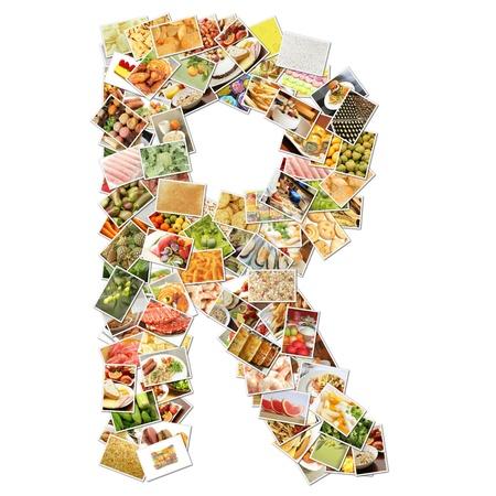 Letter r met voedsel Collage Concept Art