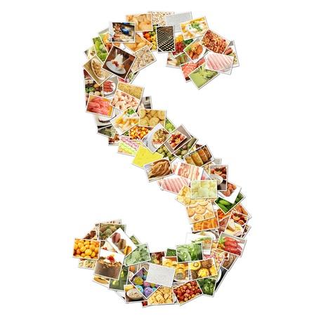 buchstabe s: Buchstabe s mit Essen Collage Konzept Kunst Lizenzfreie Bilder