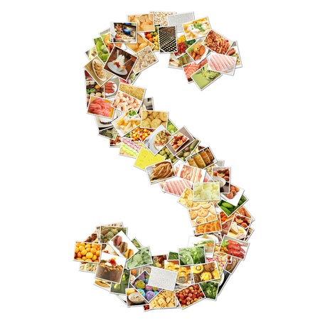 food: Letter S with Food Collage Concept Art