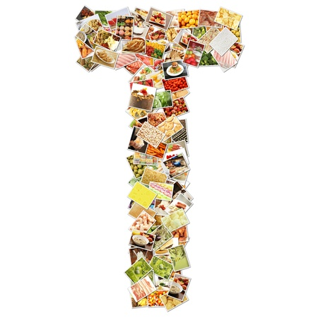 shaped: Letter T with Food Collage Concept Art Stock Photo