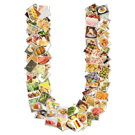 health collage: Letter U with Food Collage Concept Art