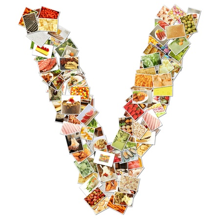 Letter V with Food Collage Concept Art Stock Photo - 9691839
