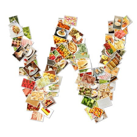 health collage: Letter W with Food Collage Concept Art