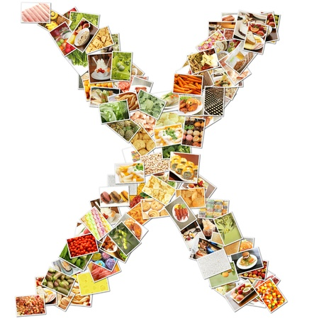 Letter X with Food Collage Concept Art photo