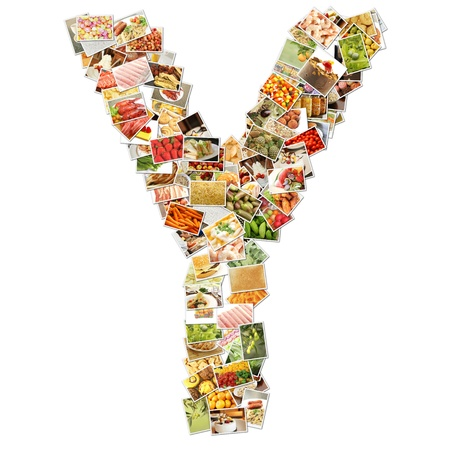 health collage: Letter Y with Food Collage Concept Art Stock Photo
