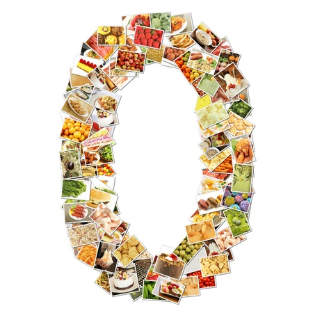 Number 0 Zero with Food Collage Concept Art photo