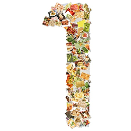 numerical: Number 1 One with Food Collage Concept Art