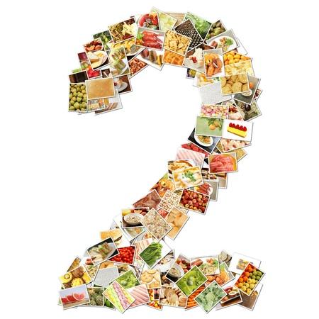 Número 2 dos con alimentos Collage concepto arte Foto de archivo - 9704307