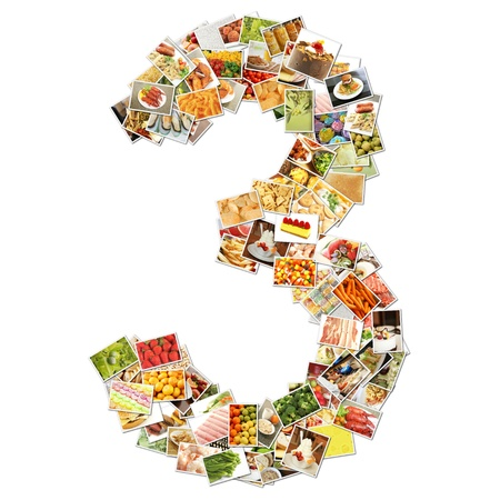 Number 3 Three with Food Collage Concept Art photo