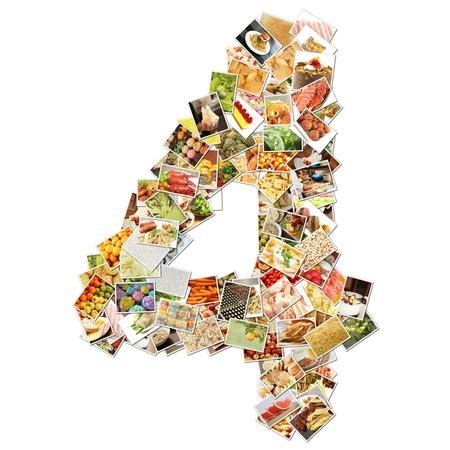 番号 4 食品の 4 つのコンセプト アートをコラージュ 写真素材