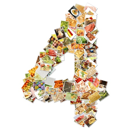 ingredient: Number 4 Four with Food Collage Concept Art Stock Photo
