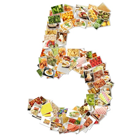 five elements: Number 5 Five with Food Collage Concept Art Stock Photo