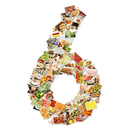 Number 6 Six with Food Collage Concept Art Foto de archivo