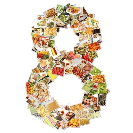 番号 8 食品との 8 つのコンセプト アートをコラージュ 写真素材