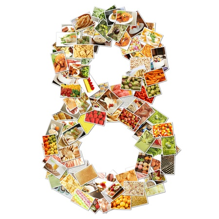 Number 8 Eight with Food Collage Concept Art photo