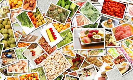 Collage de alimentos para el arte del concepto de negocio de Catering Foto de archivo - 9776069