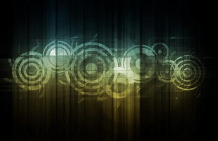 interlinked: Tecnolog�a Resumen con datos relacionados entre s� como arte Foto de archivo