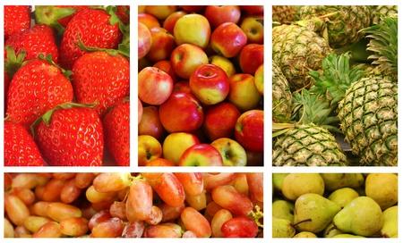 과일 및 채소 다양성과 선택의 콜라주