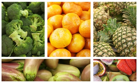 Fruits and Vegetables Variety and Choice Collage