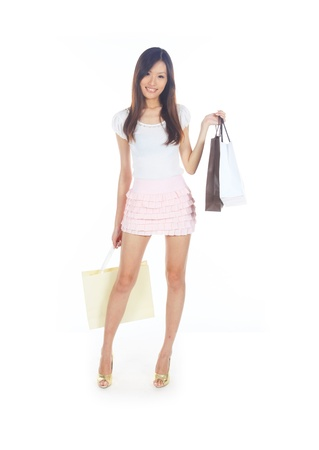 retail therapy: Retail Therapy Concept with Asian Lady and Bags