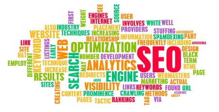 optimize: Search Engine Optimization or SEO Word Cloud