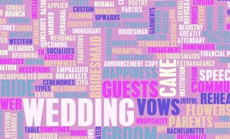 Hochzeitstag mit Kuchen und Gäste-Konzept Standard-Bild - 10231760