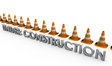 Website Under Construction with 3D Traffic Cones photo