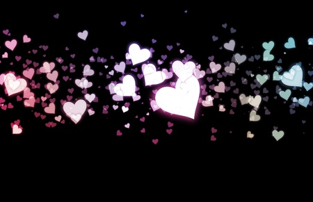 secret love: Romance Background with Floating Hearts as Art