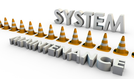 downtime: System Maintenance and Downtime with Traffic Cone