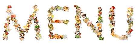 Collage de menú de la comida en letras del alfabeto Foto de archivo - 10616872